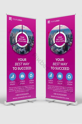 maqueta de plantilla de diseño de banner de señalización enrollable de negocios psd v2 Modelo PSD