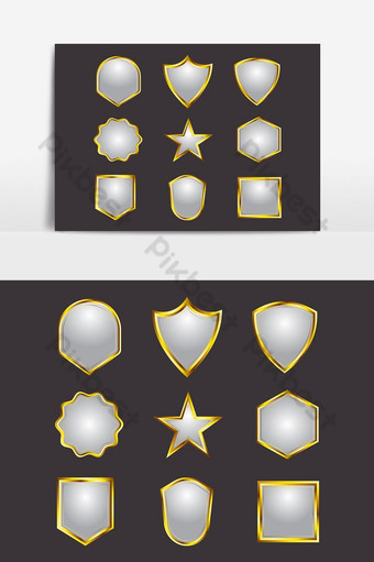 Set of Golden Empty Badge Label Design PNG Images Template EPS