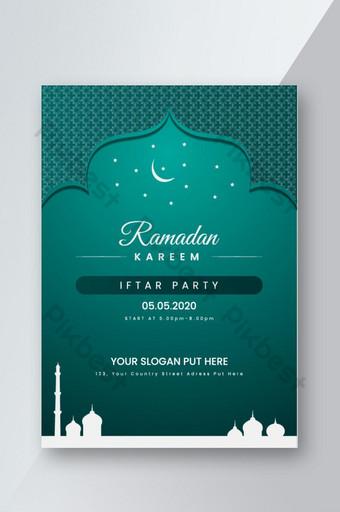 Conception de modèle de flyer de fête iftar Modèle AI