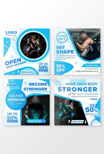 fitness gym social media banner diseño paquete eps Modelo EPS