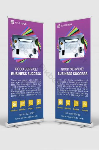 maqueta de plantilla de diseño de banner de señalización enrollable de negocios psd v6 Modelo PSD