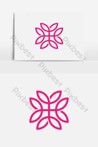 línea abstracta patrón mínimo hoja floral logo Elementos graficos Modelo EPS