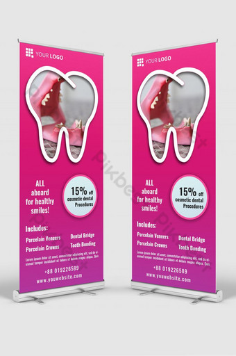 maqueta de plantilla de diseño de banner de señalización enrollable de clínica dental psd Modelo PSD
