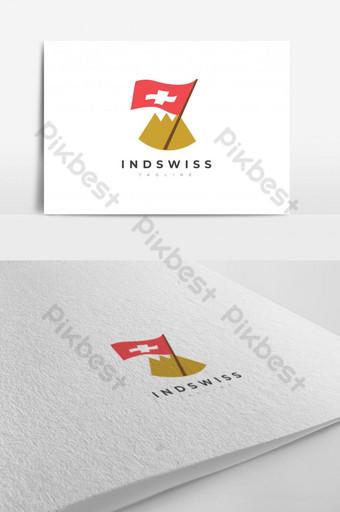 Montaña plana y bandera suiza diseño de logotipo plantilla vectorial EPS 10 Modelo EPS