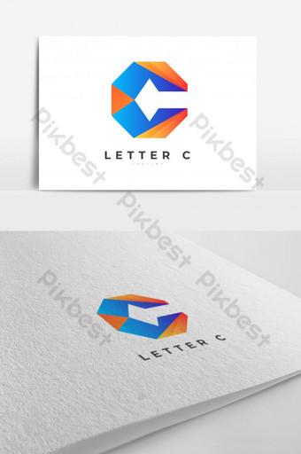 眼睛上口字母c抽象漸變獨特形狀徽標設計矢量模板eps 10 模板 EPS