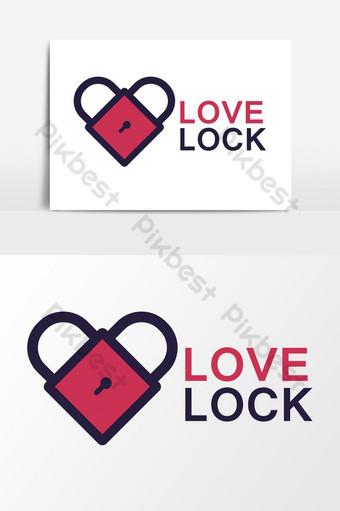 elemento gráfico de vector de logotipo de bloqueo de amor Elementos graficos Modelo AI