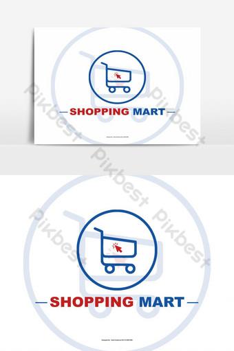 logotipo de shopping mart con carrito y haga clic en el icono psd Elementos graficos Modelo PSD