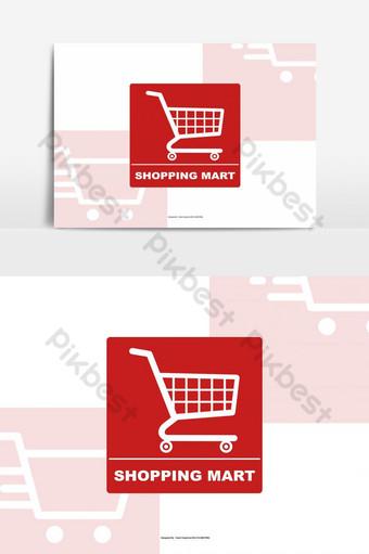 logotipo de shopping mart simple con icono de carrito psd Elementos graficos Modelo PSD