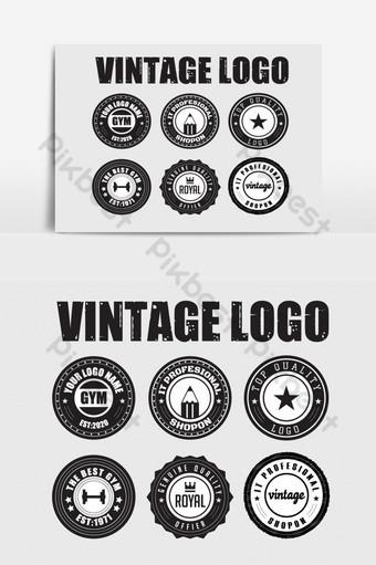 plantilla de diseño de logotipo vintage vector de placa retro para logotipo escudo gimnasio empresa real Elementos graficos Modelo AI