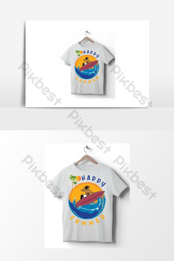 صيف سعيد ناقلات تي شيرت تصميم التوضيح من عناصر الصيف طباعة لملصق القميص صور PNG قالب AI