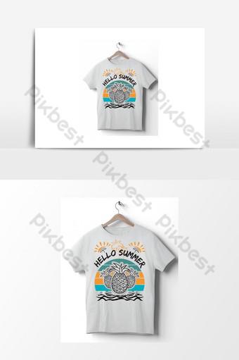 مرحبا الصيف ناقلات تي شيرت تصميم التوضيح لعناصر الصيف طباعة لملصق القميص صور PNG قالب AI