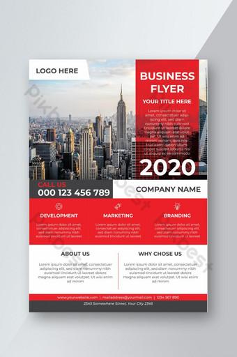 قالب تصميم نشرة إعلانية للشركات التجارية باللون الأحمر الرمادي الحديث لشركة تجارية قالب AI