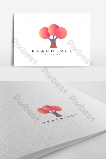 Plantilla de vector de diseño de logotipo de árbol de durazno abstracto esp 10 perfecto para salón de belleza de lujo Modelo EPS