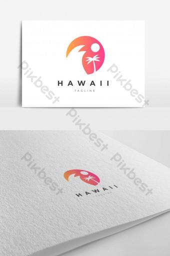abstracto hawaii playa mar ola cocotero sol tropical logo diseño vector plantilla eps Modelo EPS