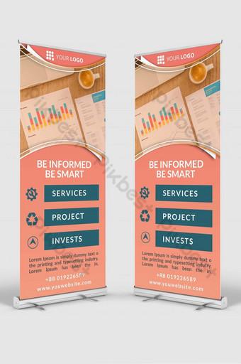 finanzas roll up señalización banner diseño plantilla maqueta psd Modelo PSD
