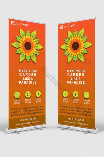 maqueta de plantilla de diseño de señalización de banner enrollable de jardín psd Modelo PSD