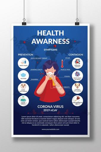 cartel de concientización sobre el virus corona ilustrador archivo vectorial síntomas prevención contagioso Modelo EPS