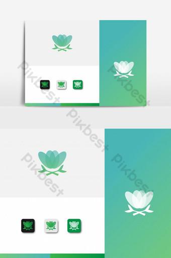 icono de flor de diseño de logotipo de yoga Elementos graficos Modelo AI