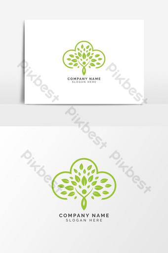 الورقة الخضراء تصميم شعار ناقلات قالب عنصر الرسم صور PNG قالب AI