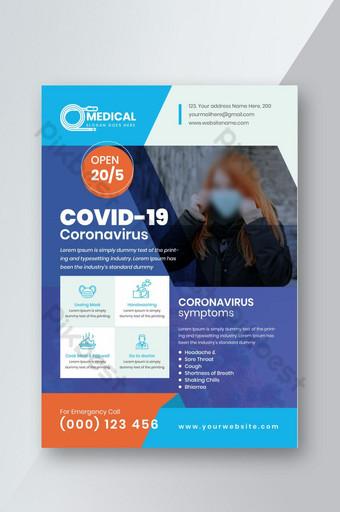 design de modelo de panfleto covid 19 coronavirus com tamanho a4 Modelo EPS