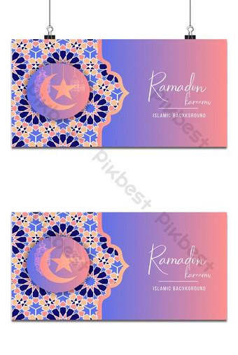 Ang background ng disenyo ng Ramadan Kareem o Eid Mubarak Islamic na may klasikong pattern at parol Background Template AI