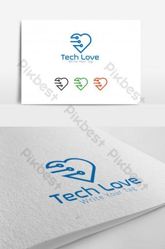 Templat desain logo pecinta teknologi Templat AI