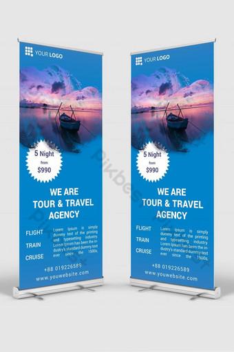 agencia de viajes roll up banner señalización diseño plantilla maqueta psd Modelo PSD