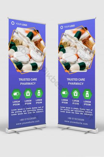 maqueta de plantilla psd de diseño de señalización de banner enrollable de farmacia Modelo PSD