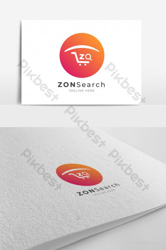 Letter Z, Shopping Card, Search Icon Logo Design with Circle Vector Template EPS