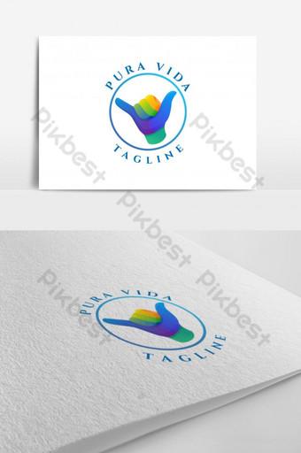 Resumen hawaii shaka pura vida colorido diseño de logotipo plantilla vectorial eps 10 Modelo EPS