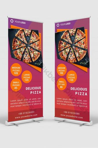 tienda de pizza roll up banner señalización diseño plantilla maqueta psd Modelo PSD