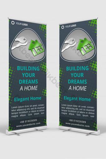 bienes raíces roll up banner señalización diseño plantilla maqueta psd Modelo PSD