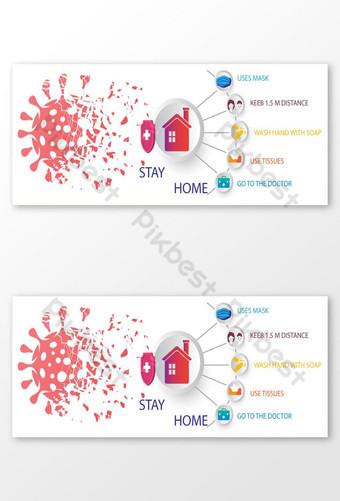 Projekt zapobiegania COVID 19 Zdjęcie w tle na Facebooka Szablon AI