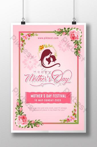 cartaz criativo feliz dia das mães de 2020 Modelo PSD