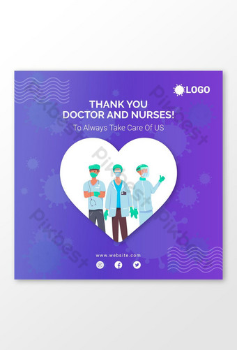 Coronavirus Merci docteur et infirmières Post Banner Design Modèle AI
