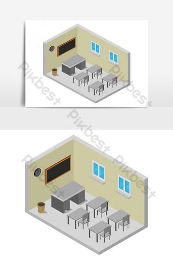 sala de la escuela ilustrada en vector sobre fondo blanco Elementos graficos Modelo EPS