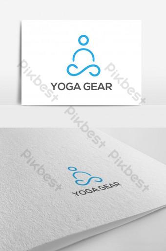 plantilla de vector de diseño de logotipo de yoga minimalista simple persona haciendo yoga logo signo vector ingenio Modelo EPS