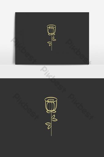 Vector de oro rosa flor logo signo símbolo emblema ilustración vectorial Elementos graficos Modelo EPS