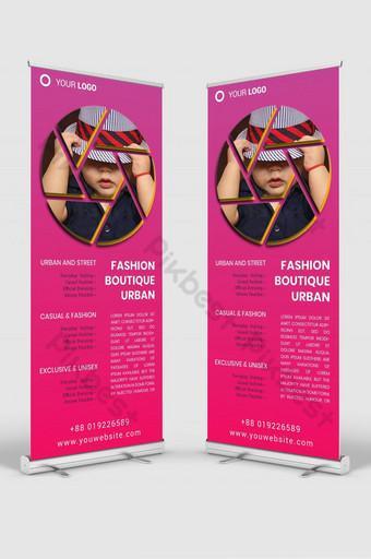 maqueta de plantilla de diseño de señalización de banner enrollable de moda psd v1 Modelo PSD