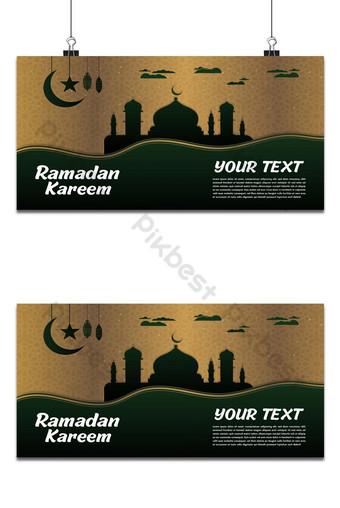 ramadan kareem atau idul fitri premium hitam hijau tua dan emas islamic Latar belakang Templat AI