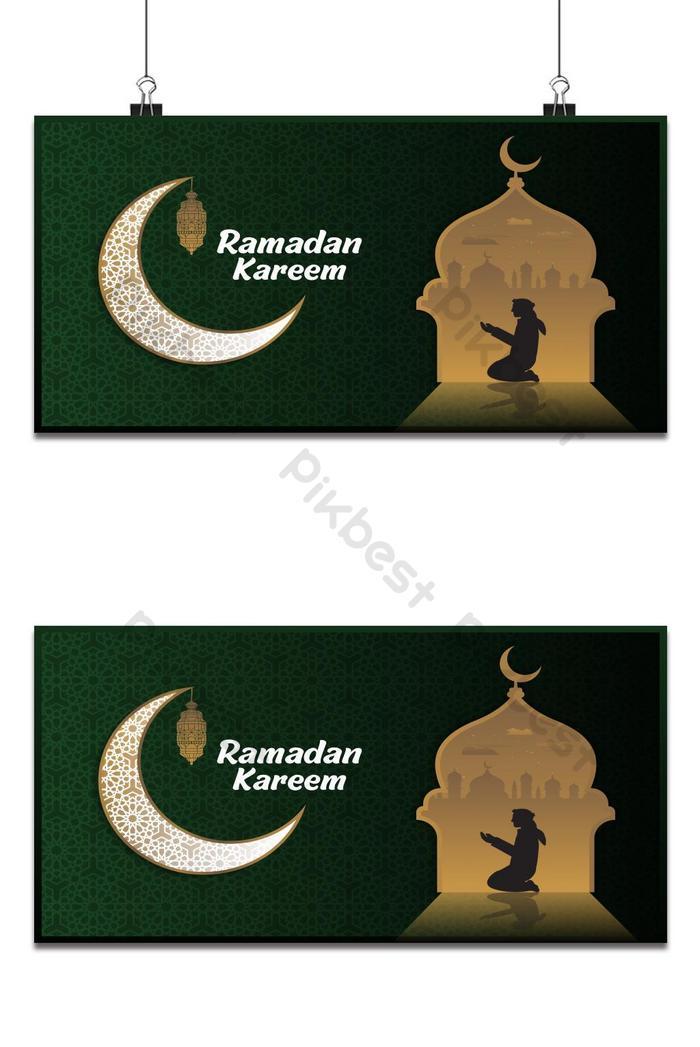 ramadan kareem o eid mubarak sfondo di design islamico con la luna modello classico