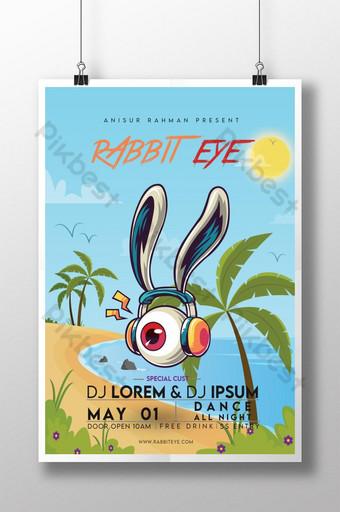 desain poster film mata kelinci sederhana Templat PSD