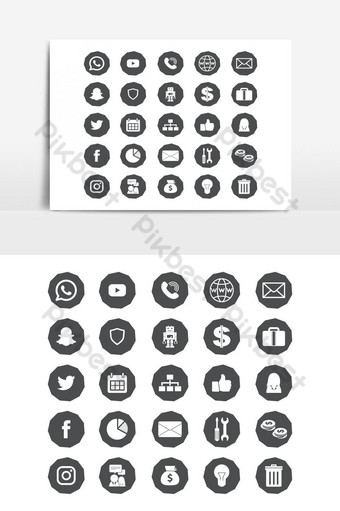 colección de logotipos de redes sociales en icono de vector Elementos graficos Modelo AI