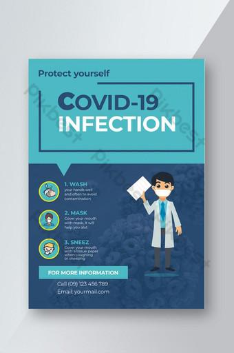 plantilla de volante simple de virus corona covid19 Modelo PSD