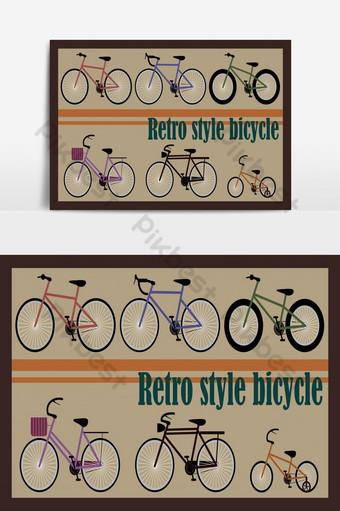Ilustración vectorial de seis bicicletas de estilo retro con fondo vintage Elementos graficos Modelo EPS
