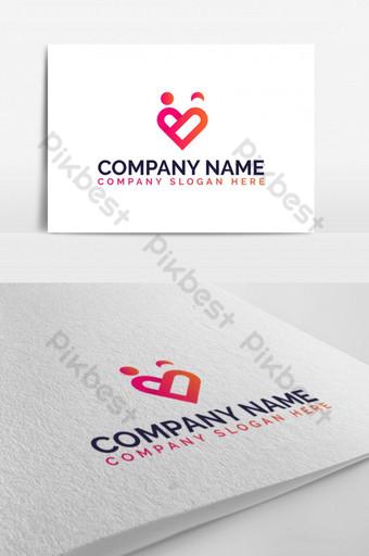 amor moderno, coração, casal, namoro, empresa, vetorial, símbolo, ícone, logo Modelo EPS