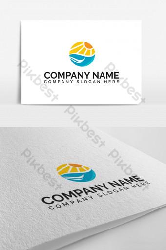moderno abstracto vacaciones playa atardecer cielo empresa vector símbolo icono logo Modelo EPS