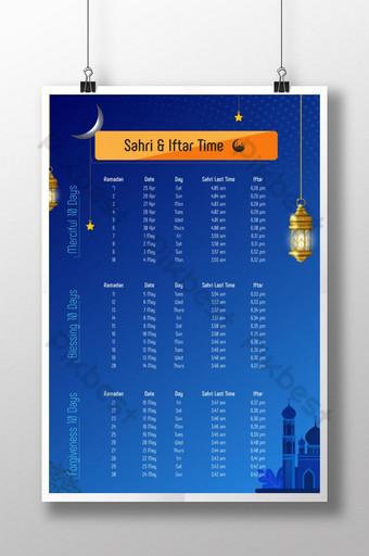 plantilla de horario de sehri y ramadán ai Modelo PSD