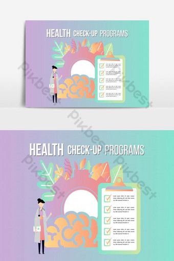 Health check up checklist medical services, annual check up, preventive examination PNG Images Template AI
