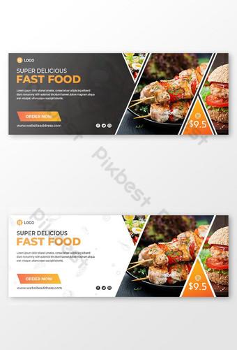 restoran cepat saji promosi penjualan desain sampul facebook dalam hitam dan putih Templat PSD